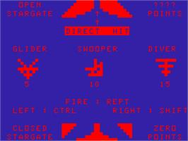 In game image of Stargate Fighter [Dimp] on the Acorn Atom.